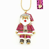 Betsey Johnson Magenta Crystal Enamel Santa Claus Pendant Long Chain Necklace