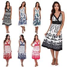 Pistachio Damen Cross Über v-Ausschnitt Knielang Damen Riemchen Sommer Midi Kleid