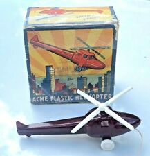 """Vintage 1950's Acme Plastic Red 5"""" Helicopter Toy With Box"""