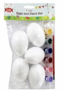 5 Pack Easter Eggs And 6 Paints/Brush Pack Free P&P