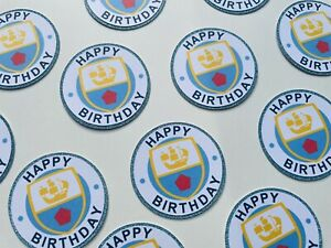 6x Manchester Man City Themed Cupcake Cake Toppers Birthday Football Glitter