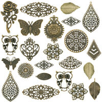 120PCS/Bag Random Iron Filigree Big Pendants Antique Bronze Charm Connector Link