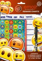 2 Emoji Themed Wipe-Clean Childrens Reward Charts with Stickers & Pen