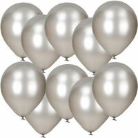 Pack of 100 - 12'' - Latex Pearl Silver - Balloons Wedding Party Helium Air