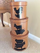 3 Country Folk Art Round Nesting Stacking Boxes with Farm Animals