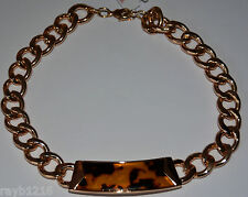 NWT Guess Gold-tone Metal Heavy Links & Leopard Print Resin Insert