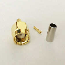 10X RP SMA male plug crimp RF coax connector for RG316 RG174 straight goldplated