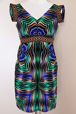 Tibi Dress size 2 Women multicolor silk cap sleeve empire waist