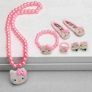 7 pcs  Kids Girls Princess Beads Necklace&Bracelet&Ring Set Jewelry Gift Tops uk