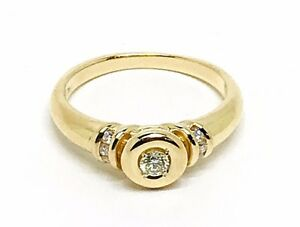 Diamond Solitaire 0.37ct. Colour F-G Vs1-Vs2 Gold 18k. Ring UK Size O 1/2 EU 56