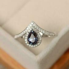 2Ct Pear Cut Alexandrite Halo Women's Engagement Ring 14K White Gold Finish