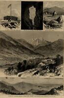 Colorado Springs Manitou Navajo soda spring Ute pass 1875 Pikes Peak view print
