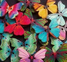 15 Assorted Butterflies Flat Wooden Buttons 28mm
