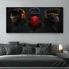 Masked Animal Canvas Painting Swag Monkey Wall Art Print Home Decor