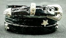BLACK HATBAND Genuine LEATHER with SILVER STAR CONCHOS and Buckle Set Hat Band