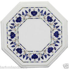 "12"" White Marble Coffee Center Table Lapis Rare Marquetry Decorative Arts H2356"
