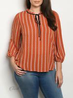 Zenobia | Rust Plus Size 3/4 Sleeve Tie Neck Printed Top | NWT Size: XL, 2X, 3X