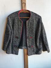 FAB BLACK / RED VINTAGE JACKET / TOP 50'S -60'S SIZE 12 / M PERFECT CONDITION