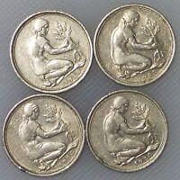 50 Pfennig 1980 D F G J Kompletter Satz