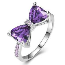 Womens Ladies Silver Plated CZ Purple Bow Knot Engagement Ring Band Gift Present
