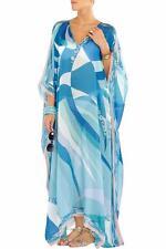 EMILIO PUCCI Blue Silk Kaftan Coverup Maxi Dress Gown ONE SIZE 8-18