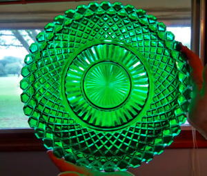 """Green Waterford 14"""" Crystal Platter Tray"""