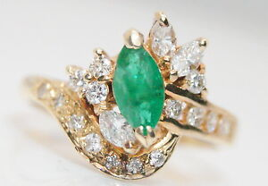 Vintage 14K Gold 1 Ct  TW Marquise Emerald & Diamond Ring Size 7.25