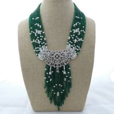 "M012901 19"" 9 Strands Green Jade Pearl Necklace CZ Pendant"