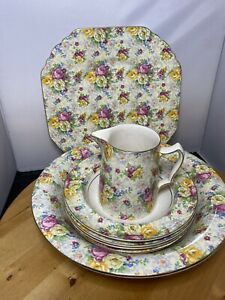 Stunning Lord Nelson Ware Rose Time Serving Plate Sweets Set & Jug 7 Pieces