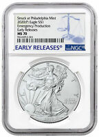 2020 (P) 1 oz Silver Eagle Emergency Production Philadelphia $1 Coin NGC MS70 ER
