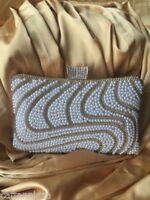 Luxus Clutch Gold Abendtasche Brauttasche Strass Perlen Edel NEU bling Elegante