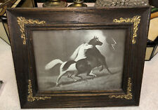 Antique 1901 Print of 'Spirited Horses in the Storm No.2 Framed Joseph Hoover