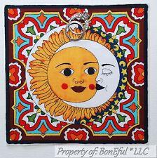 "BonEful Fabric FQ Cotton Quilt Block 5+"" Yellow Sun Zen Celestial Yoga Moon Star"