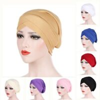 Women Muslim Frontal Cross Bonnet Hijab Turban Hat Chemo Cap Head Scarf Headwrap