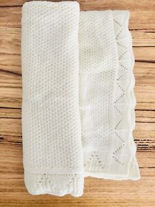 Baby Knitted Pram Cot Blanket Beige