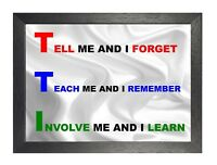 Tell Me And I Forget Motivation Inspiration Quote Poster Remember Forget Learn