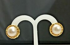 Mabe Pearl Earrings 14k Yellow Gold