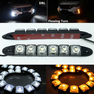 2x Adjustable LED 12V Car Truck Driving Light DRL Trim + Amber Flowing Indicator