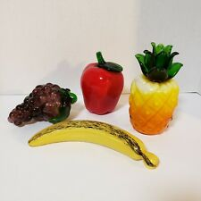 Italian Murano Style Hand Blown Glass Fruit 4 Pieces Pineapple Apple Grapes Vtg