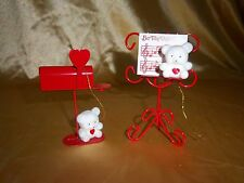 Set of 2 Avon Teddy Bear Collectible Ornaments Mailbox & Music Stand
