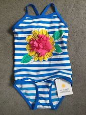 M&S BLUE & WHITE STRIPED SWIMMING COSTUME WITH CENTRAL 3D FLOWER IN PINK - BNWT
