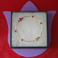 "Beautiful Gold Plated Bracelet With Faceted Ruby Beads 8"" Inch Long In Gift Box"
