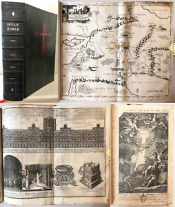 1735 FAMILY BIBLE Old Testament Apocrypha History Annotations Maps 96 Plates