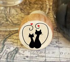 Wine Stopper, Silhouette Cats Handmade Wood Bottle Stopper, Cat Gift Style 1