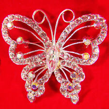 Butterfly Pin Clear & Aurora Borealis Crystal Rhinestones Silvertone Brooch