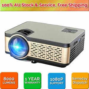 1080P 8000 Lumen Full HD LED Projector Media Home Outdoor Cinema HDMI USB HiFi