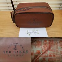 Ted Baker London Mens Smart Brown Cotton Toiletry Wash Bag Christmas Gift