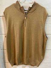 PETER MILLAR Half Zip Pullover Sweater Vest Tan Beige Casual Golf Apparel 1/4