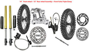 "12"" 14"" Front Rear Wheel Assembly Tire Front Fork Triple Dirt Pit Bike 50c-125cc"