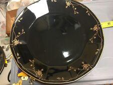 "MIKASA JAPAN FORMAL FACETS VELVET ROSE DINNER PLATE 10 1/2"" GOLD FLORAL ON BLACK"